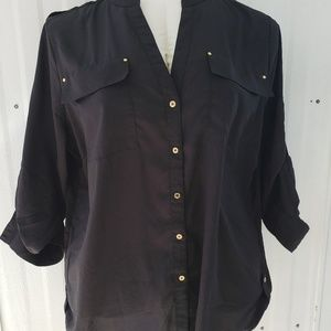 Calvin Klein Black Blouse Mandarin Collar 1X
